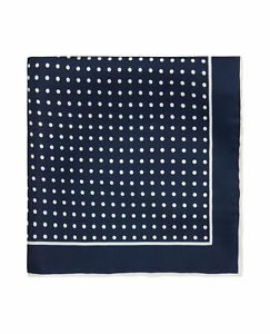 T.M.Lewin Mens Silk Navy and White Spot Pocket Square