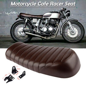 Motorcycle Vintage Brown Flat Brat&Hump Saddle Seat For Honda  Cafe Racer Suzuki