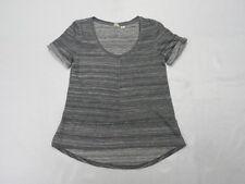 Roxy Striped Gray & White Woman Top Shirt T-Shirt Size Small