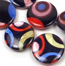 """20mm Peacock Rainbow Mother Of Pearl Coin Disc Beads 16"""""""