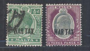 Malta GV 1917-18 sg92 Used sg93 MM