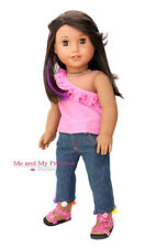 TOP + POM POM DENIM JEANS + PINK SHOES Girl Clothes for 18 inch American Doll