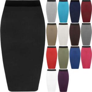 Ladies Plain Office Women's Stretch Bodycon Midi Pencil Skirt Plus Size 8-26