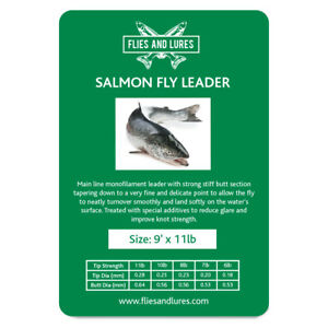 Salmon Fly line leader tapered knotless 9, 12' or 15 Tying loop first class post