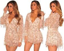 Abito tuta nudo scollo Trasparente Pailettes Ballo Party Sequin Romper dress M