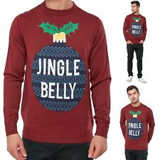 Mens Christmas Jumper Baubles Funny Jingle Belly Xmas Novelty Crew Neck Sweater