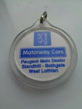 Peugeot 'Motorway cars' Bathgate, Scotland original dealer keyring/fob, used