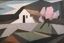 "Alfred Lesbros(1873-1940)""  Paysage"". Pochoir sur carton. v275."