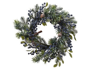 40cm Artificial Blueberry Door Wreath, Sloe - Blue Berries With Nuts & Cinnamon