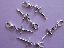 DAGGER SWORD ATHAME KNIFE tone charm clip on lobster clasp for charm bracelets