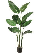 TWO 5' Bird of Paradise Artificial Plant in Plastic Pot Green Decor. Silk Plants