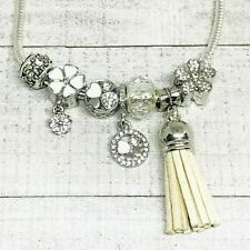 White Flower Primrose Dangle Charms European Bead fit Bracelet Murano Tassel