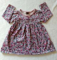 Tea Collection 6-12 Dress Ruched Chest Pink Multicolor Flower Long Sleeve Cotton