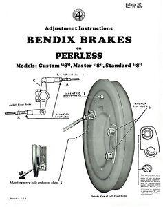 1930 Peerless Custom 8 Master 8 Standard 8 Brake Adjustment and Trouble Finder
