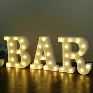 LED Light Up Alphabet Letters Numbers Standing Sign for Home Bar Love Decor A-Z