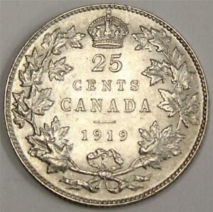 1919 Canada 25 Cents AU50