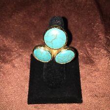 Lovely Turquoise Goldstone Size 7 Ring (B1)