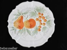 "Williams Sonoma Large Round Ceramic Platter Tray 16.75"" Hand Painted Fruit ITALY"