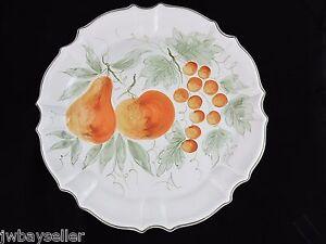 "Williams Sonoma Large Round Ceramic Platter Tray 16.75"" Hand Painted Fruit ITALY"