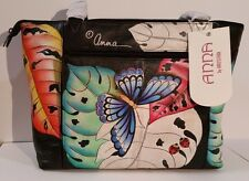 "Anna By Anuschka""Lovely Leaves"" Hand-Painted Leather Triple Compart Shoulder Bag"