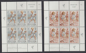 New Zealand Sc B85a-B86a MNH. 1972 Tennis Semi-Postals, Mini-Sheets of 6 cplt