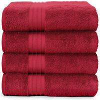 4-Piece Bath Towels Set for Bathroom | 100% Soft Cotton Turkish Towels- Burgundy