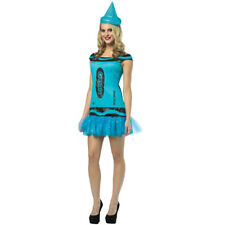 BLUE CRAYOLA DRESS COSTUME STEEL CRAYON WOMENS LADIES FANCY DRESS OUTFIT
