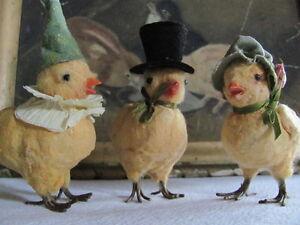 Spring Easter Whimsical Folk Art Cotton Batting & Resin Embellished Party Chick