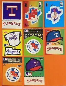Vintage 1980's TEXAS RANGERS Fleer Team Baseball Sticker Lot of 8 Different