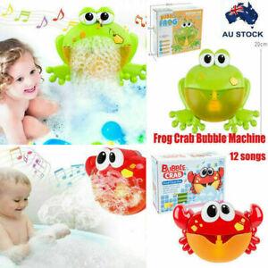 BABY BUBBLE MAKER CRAB FROG SHOWER MACHINE BLOWER FUN BATH MUSIC PLAY KIDS TOY