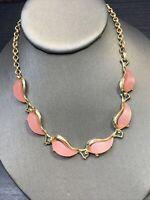 "Vintage 1950's Thermoset Plastic Adjustable Necklace Hook Clasp Pale   Pink 16"""