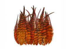 1 Dozen - Short Orange Grizzly Rooster Hair Extension Feathers