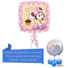 CENTROTAVOLA 1° COMPLEANNO BIMBA con kit e Palloncino Minnie Rosa Addobbi Feste