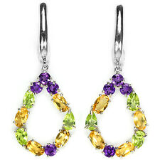 Sterling Silver 925 Peridot, Citrine and Amethyst Open Cluster Design Earrings