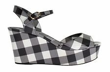 NWT $800 DOLCE & GABBANA Sandals Shoes Gray Check Leather Wedge EU39.5 / US8.5
