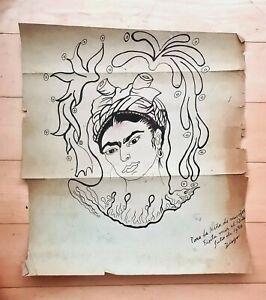 DIEGO RIVERA  INK ON PAPER -FRIDA KAHLO- PORTRAIT SIGNED