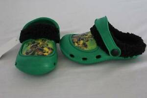 NEW Toddler Boys Green TMNT Medium 7 - 8 Clogs Ninja Turtles Lined Shoes Slip On