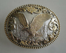 Large Silversmith Collection Gold and Silver Plated Eagle Oval Belt Buckle