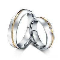 CZ Couple Rings Titanium Steel Lover's Promise Band Jewelry Valentine's Day