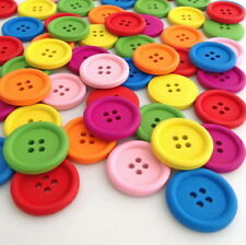 100pcs Mixed Round Wooden Buttons Scrapbooking Sewing DIY Crafts 4 Hole Hnk232