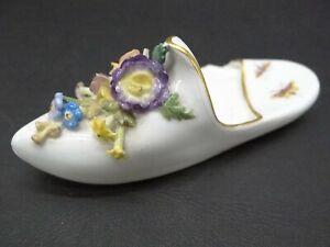 #73/9 Antique Meissen Porcelain Slipper Shoe with Butterflies & Applied Flowers