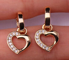 18K Gold Fille - Hollow Sweet Heart Topaz Zircon Hoop Party Gems Earrings Gift