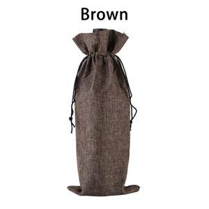 1PC Reusable Drawstring Burlap Bag Wine Red Bottle Cover Packaging Portable Gift