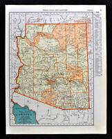 1938 McNally Map Arizona Phoenix Tuscon Tombstone Prescott Grand Canyon AZ