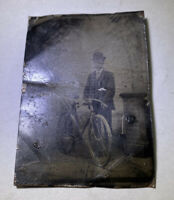 Vintage Tin Type Photo Man With Bike Postal Employee? Messenger?