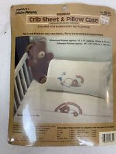 VTG New Creative Moments Stamped Crib Sheet Pillowcase Rainbow Bear Embroidery