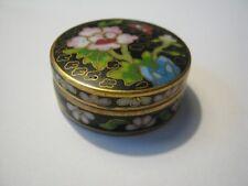 Vintage Chinese Cloisonne Enamel - Oriental Peony rose Pattern Pill  Trinket Box