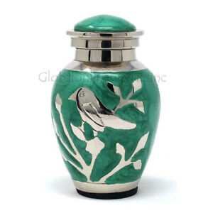 Cremation Urns Small for Ashes - Blessing Silver Birds small Keepsake Urn (Green