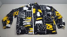 vintage 80s three flaggs black white and yellow jacket with padded shoulders xl