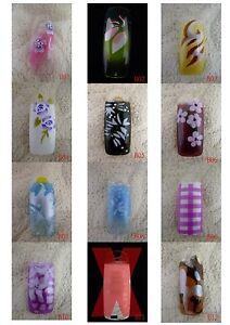 B01-B12 70 Pcs Pre-Designed Fashion False French Acrylic Nail Half Tips